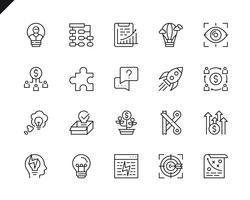 Enkel uppsättning av företagsstart relaterade vektorlinje ikoner