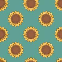 nahtloses Muster mit Sonnenblumen auf blauem Hintergrund vektor