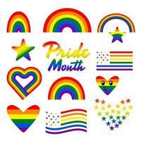 Stolzmonatsfarbregenbogen, -herz und -flagge. Grafikdesign über LGBT und LGBTQ. Vektor veranschaulichen.