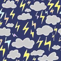 Süßes blaues Muster mit Wetterblitz Gewitterwolken nahtlose Hintergrund. Textilien für Kinder Minimalismus Papiereinklebebuch für Kinder vektor