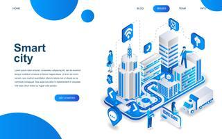 Modernes isometrisches Designkonzept von Smart City vektor
