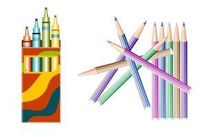 Satz Farbmarker, Bleistifte vektor