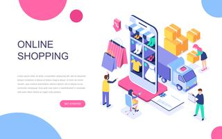 Modernt plandesign isometrisk koncept för online shopping