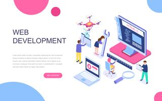 Modernt plandesign isometrisk koncept för webbutveckling