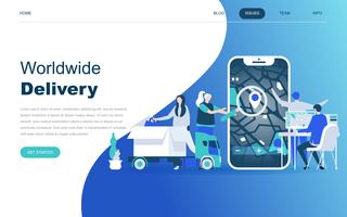 Modernt plattdesign koncept för Worldwide Delivery vektor