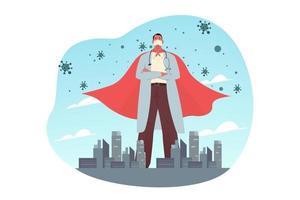 Konzept zum Schutz von Superhelden im Gesundheitswesen vektor