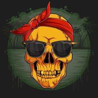goldener menschlicher Schädelkopf mit rotem Bandana und Sonnenbrille goldenem Skelett vektor