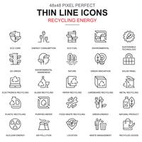 Tunna linje återvinning miljöskydd ikoner uppsättning