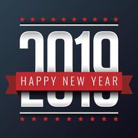 Gott nytt år 2019 Inskription hälsningskort vektor
