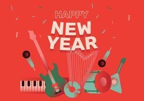 Guten Rutsch ins Neue Jahr-Musik-Party-Hintergrund-Vektor