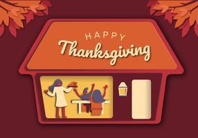 Thanksgiving Family Dinner Bakgrund vektor illustration