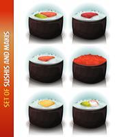 Asiatisk Sushis Och Makis Set vektor