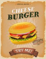 Grunge und Weinlese-Cheeseburger-Plakat vektor