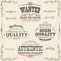 Handdragen vintagekvalitet banderoller och etiketter vektor