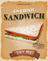 Grunge och Vintage Swedish Sandwich Poster vektor