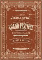 Vintage Retro Festival Poster Bakgrund vektor