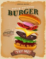 Grunge och Vintage Burger Ingredients Poster vektor