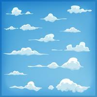 Tecknade moln sätta på blå himmel bakgrund vektor