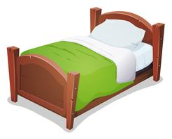 Holzbett mit grüner Decke