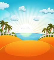 Karikatur-Sommer-Strandlandschaft