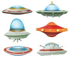 Fliegende Untertasse, Raumschiff und UFO-Set vektor