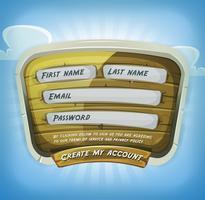 Inloggningsformulär På Träpanel För Spel Ui