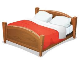 Hölzernes Doppelbett mit roter Decke