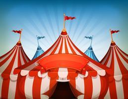 stora topp cirkus tält med banner