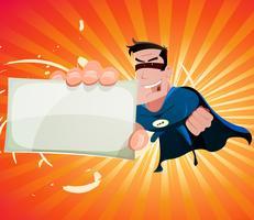 Komischer Superheld, der Zeichen hält vektor