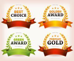 Auszeichnungen Palmen, Lorbeerblätter mit Banner und Bändern vektor