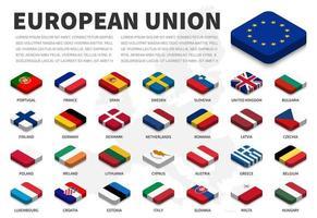 Flagge der Europäischen Union und Mitgliedschaft auf Europa-Kartenhintergrund. isometrisches Top-Design. vektor