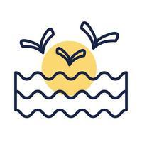 Meereswellenwasser mit Möwen Blocklinienstil vektor