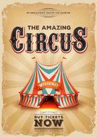 Vintage gammal cirkusaffisch med röd och blå stor topp
