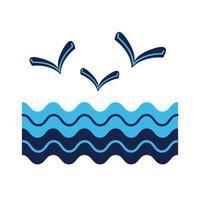 Meereswellenwasser mit Möwen im flachen Stil vektor