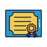 Diplomzeugnis Abschlusslinie und Füllstil vektor