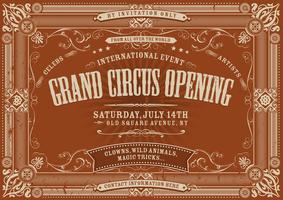 Vintage horisontell cirkus bakgrund vektor
