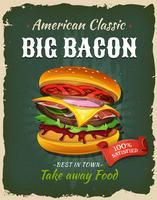 Retro snabbmatbacon Burgeraffisch