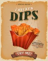 Grunge und Weinlese Fish And Chips Poster vektor