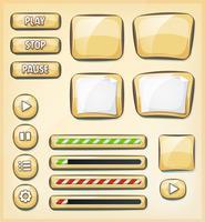 Tecknade knappar, ikoner och element för spel Ui