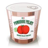 Ekologiska skalade tomater i burk vektor