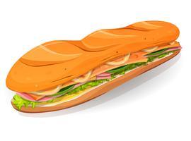Klassisk skinka och smör fransk smörgås ikon vektor