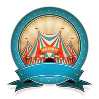 Vintage cirkus emblem med band och stor topp