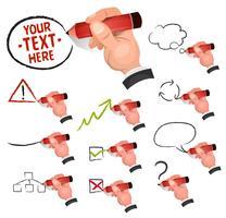 Affärsman Hand Ritning Business Ikoner vektor