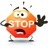 Stopp vägskylt ikon karaktär
