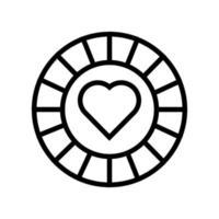 Casino-Chip mit isoliertem Herzsymbol vektor