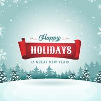 Lycklig hälsningskort och jullandskap vektor