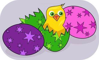Cartoon-Küken schlüpft aus dem Ei vektor