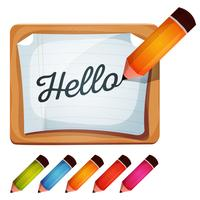 Bleistift-Zeichnungs-Wort auf leerem Zeichen vektor