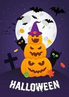 Happy Halloween Kürbisse Haufen mit gruseligen Gesichtern Ausdruck Grimasse vektor