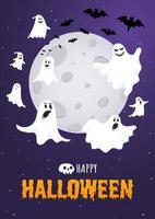 Happy halloween text postkartenbanner mit gruseligem gesicht der geister, nächtlichem himmel vektor